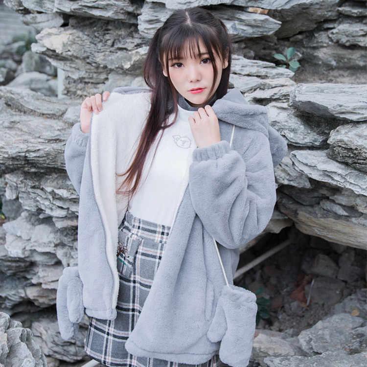 Милые комплекты для Лолиты для японских студентов, утепленное теплое пальто с ушками коалы + топ с высоким воротником + клетчатая юбка, kawaii, готические комплекты для Лолиты для девочек