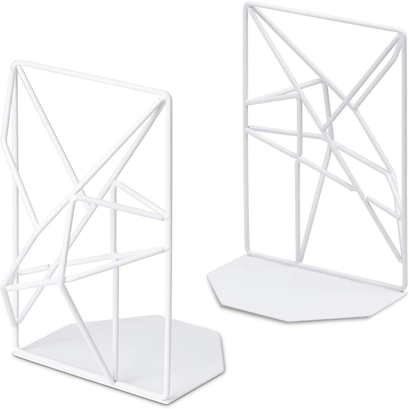 1 Pair/2 Pieces White Bookends Decorative Metal Book Ends Supports For Shelves Unique Geometric Design