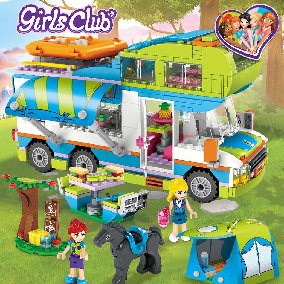 Kompatybilny z Lepining Friends seria miejska serce jezioro miasto dziewczyny klub ulica klocki różowy tort Cafe Blue Camper Toys
