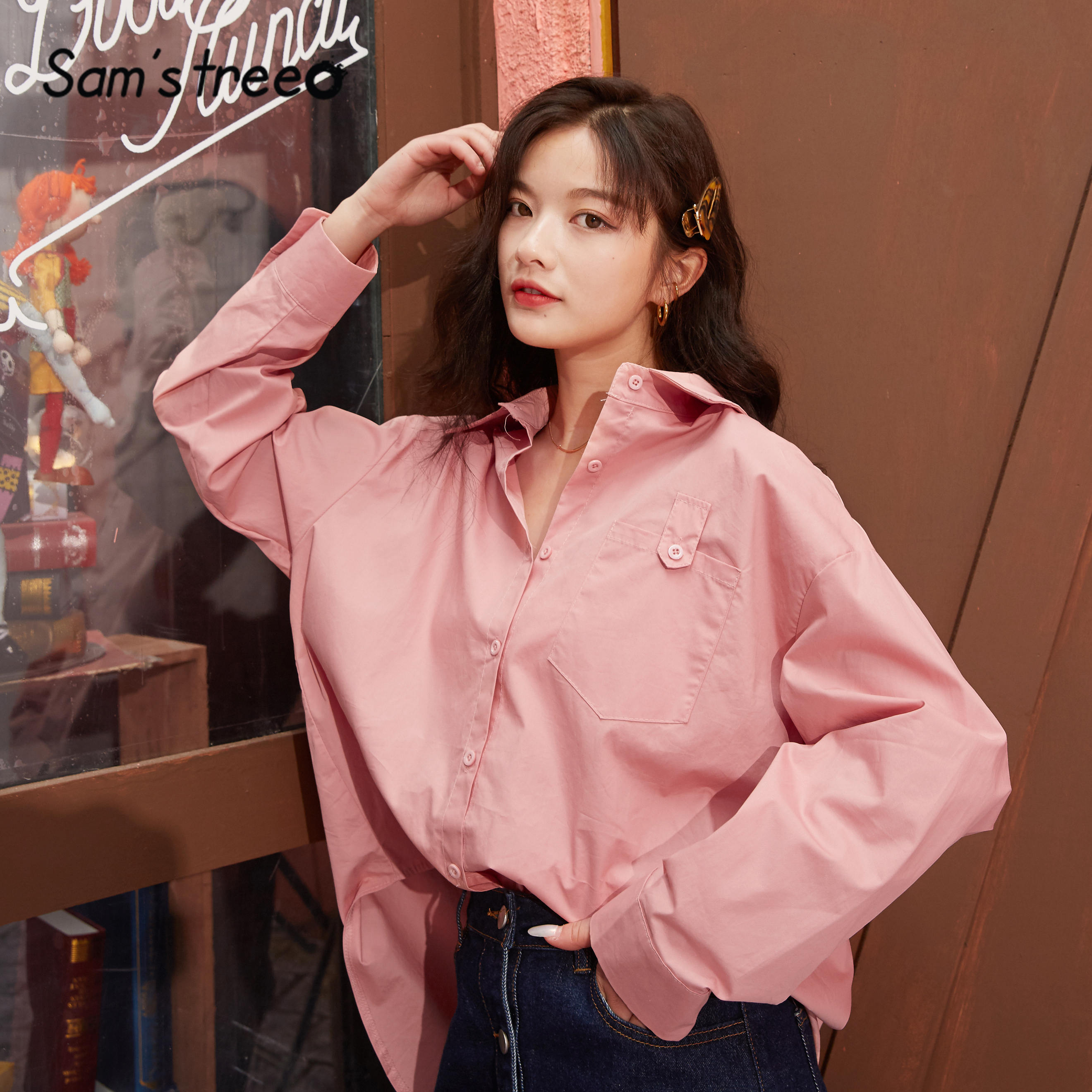 SAM'S TREE Multicolor Solid High Low Casual Shirts Women 2020 Spring Vintage Pure Single Breasted Long Sleeve Ladies Basic Tops