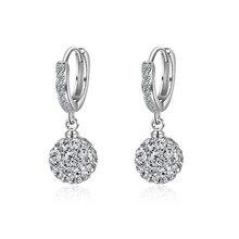 Серебро цвет серьги ювелирные изделия мода прозрачный кристалл циркон дрель мяч круглый гвоздики серьги для женщин девочек детей леди подарок