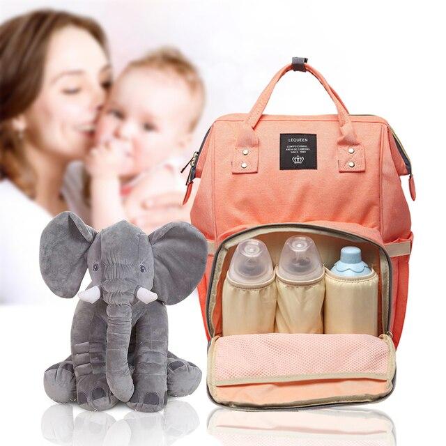 Lequeen Mode Mumie Mutterschaft Tasche und elefanten Große Kapazität Baby Tasche Reise Rucksack Designer Pflege Tasche für Baby Pflege
