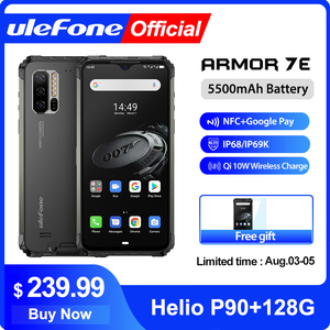 Ulefone Armor 7E Rugged Mobile Phone Helio P90+128G Smartphone 2.4G/5G WiFi Waterproof IP68 Global Version Android 9.0 NFC/48MP(China)