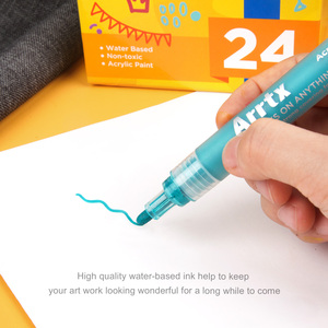 Image 3 - Arrtx caneta marcadora de tinta, 24 cores conjunto de acrílico permanente, diy, caneta de marcador de tinta, selvagem, vidro, cerâmica pintura de madeira