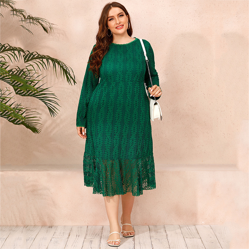 Plus Size Lace Dress Women 2021 New Spring Long Sleeve Party Dress Green High Waist Maxi Long Green Dresses Birthday Club Dress