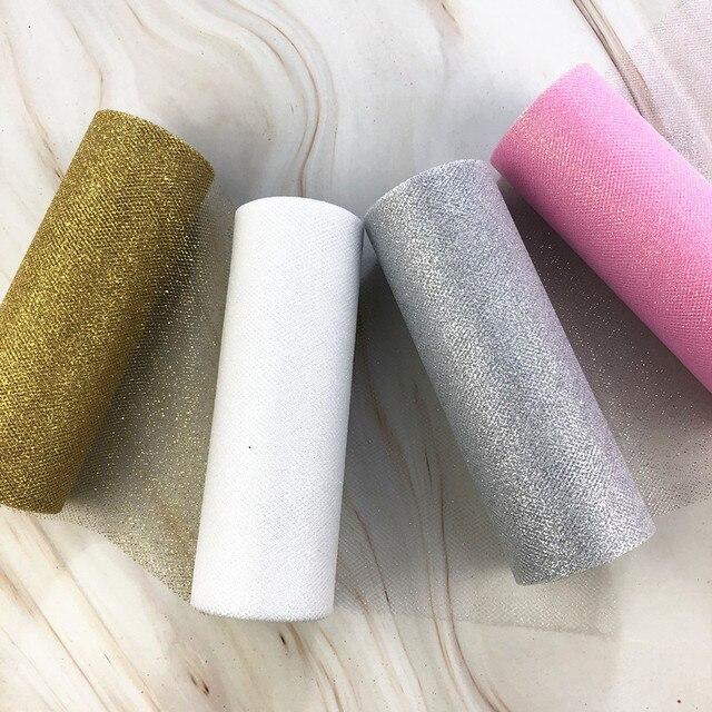 9.2m brokat Organza tiul rolka szpula wstążka materiałowa DIY spódnica Tutu zestaw do pakowania prezentów Baby Shower wesele dekoracja złoto srebro
