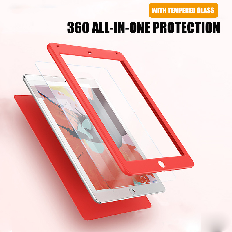 360 Degree Full Cover For Ipad 10.2 2019 Tempered Glass With Silicone Case For IPad 7th Generation A2197 A2200 Screen Protector