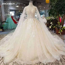 LSS278 elegant wedding dresses with detachable cape v neck sleeveless wedding gown 2020 with train china wholesale free shipping