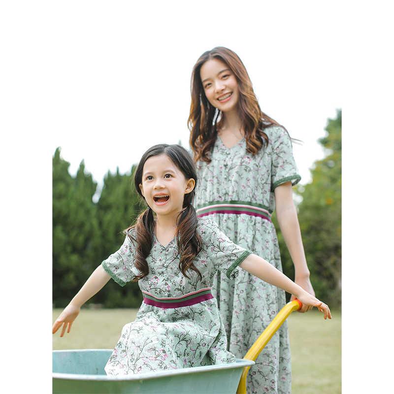 INMAN 2020 Sommer Neue Ankunft Floral V-ausschnitt Kontrast Farbe Literarischen Erstickt Taille A-linie Kleid