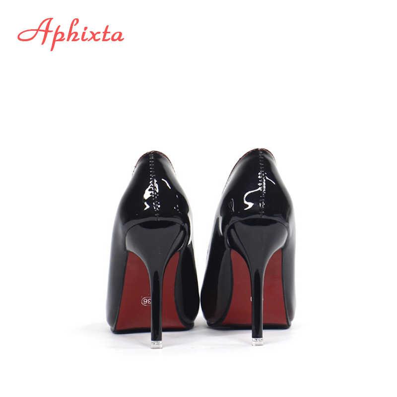 Aphixtaชี้Toeผู้หญิงส้นสูง 10 ซม.รองเท้าส้นสูงPointed Toeสิทธิบัตรหนังงานแต่งงานรองเท้าผู้หญิงขนาดใหญ่ 48