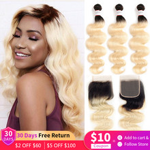 613 Body Wave Bundles With Closure Brazilian 9A Remy Human Hair 3 Bundles With 4x4 Lace Closure Ombre Honey Blonde Hair Euphoria