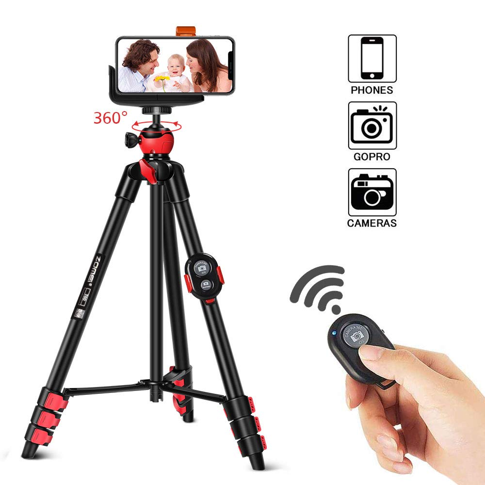 ZOMEI T60 Mobile Phone Holder With Bluetooth <font><b>Remote</b></font> <font><b>Control</b></font> Camera Tripod For Phone <font><b>Gopro</b></font> For DSLR Camera Action Camera image