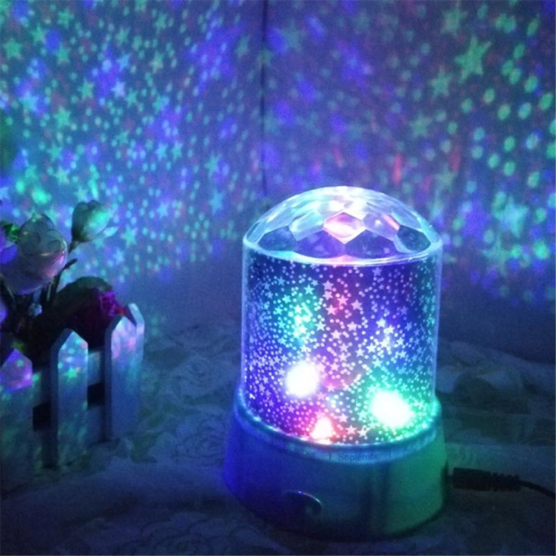 Starry Sky Projection Lamp Battery Operated Rotating Bedside Night Light Projector Lamp Colorful Children Kids Home Decor