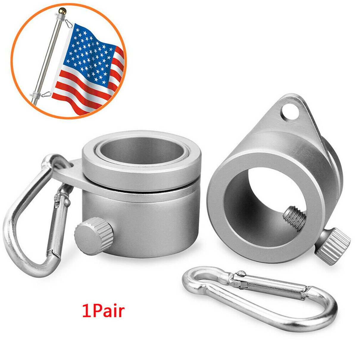 NEW Aluminum Alloy Flag Pole Rings 360 Degree Rotating Flagpole Mounting Rings Kit With Carabiner For 0.75-1.02Inch Flagpole