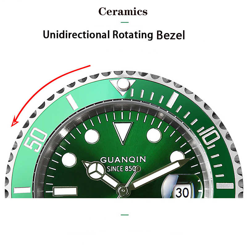 Guanqin機械式時計日本運動防水メンズ腕時計自動時計トップの高級セラミック男性サファイアレロジオmasculino