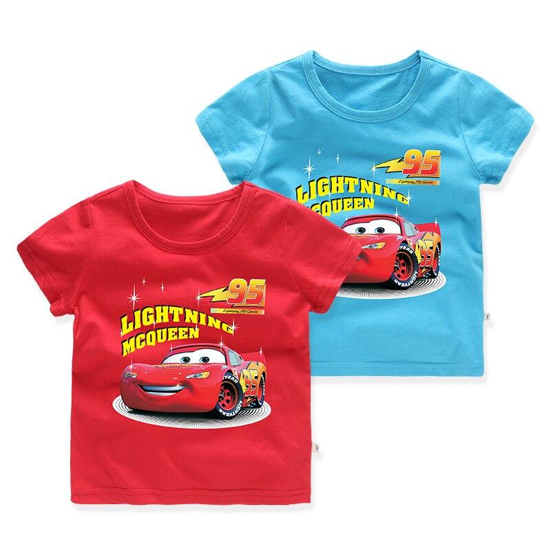 Disney car mcqueen100 % algodão, camiseta de algodão para crianças, de manga curta dos desenhos animados