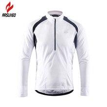 Arsuxeo反射男性の長袖サイクリングジャージとハーフジッパーバックポケット通気性mtbバイク自転車シャツ服