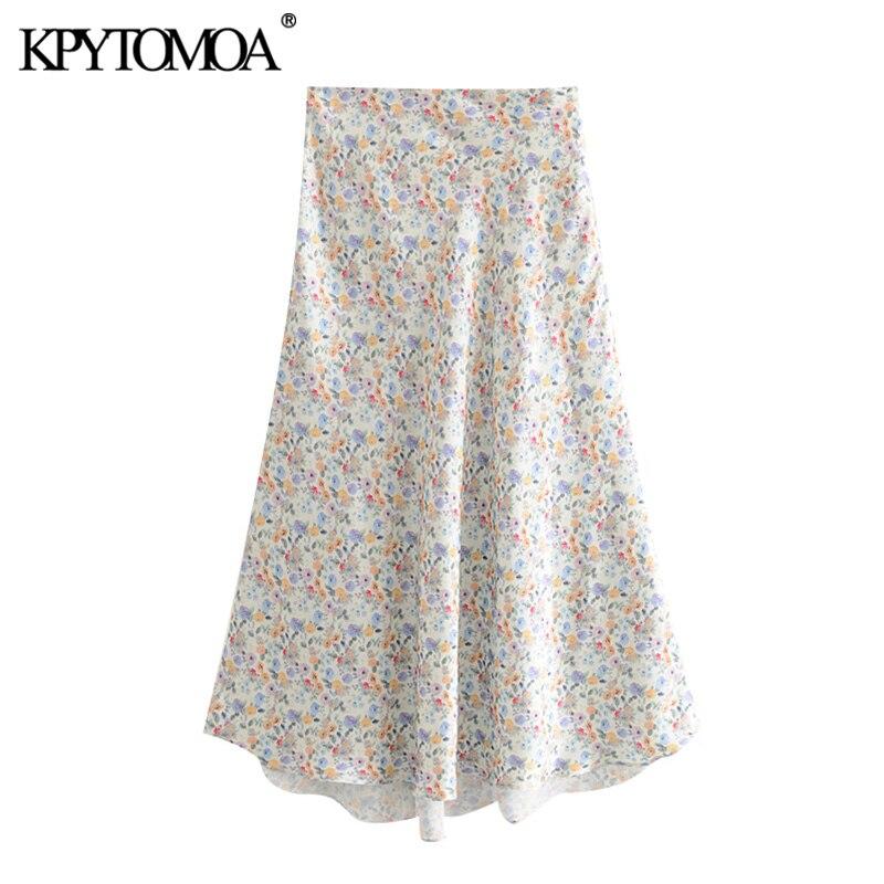 KPYTOMOA Women 2020 Chic Fashion Floral Print Asymmetrical Midi Skirt Vintage High Waist Side Zipper Female Skirts Faldas Mujer