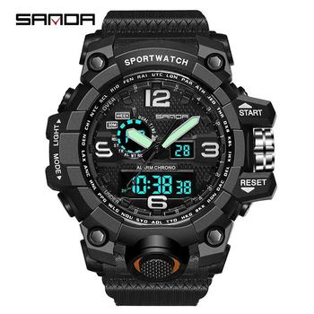 SANDA Mens Watches Top Luxury LED Digital 5ATM Waterproof Military Watches S Shock Wrist Watch for Male Clock Relogios Masculino