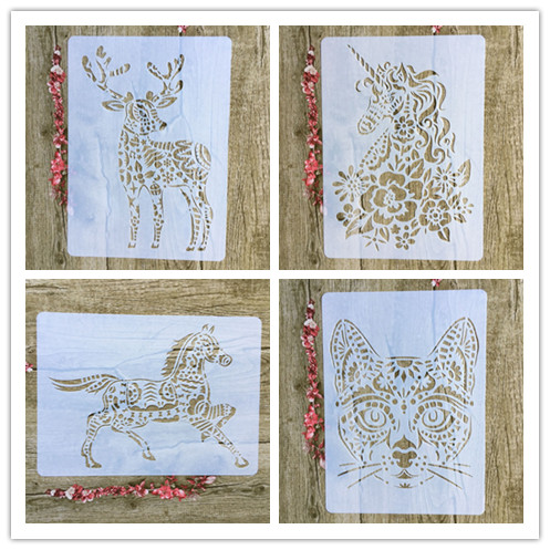 4pcs / Set A4 Animal Unicorn Horse Deer Cat Stencils Painting Coloring Embossing Scrapbook Album Decorative Template For Walls