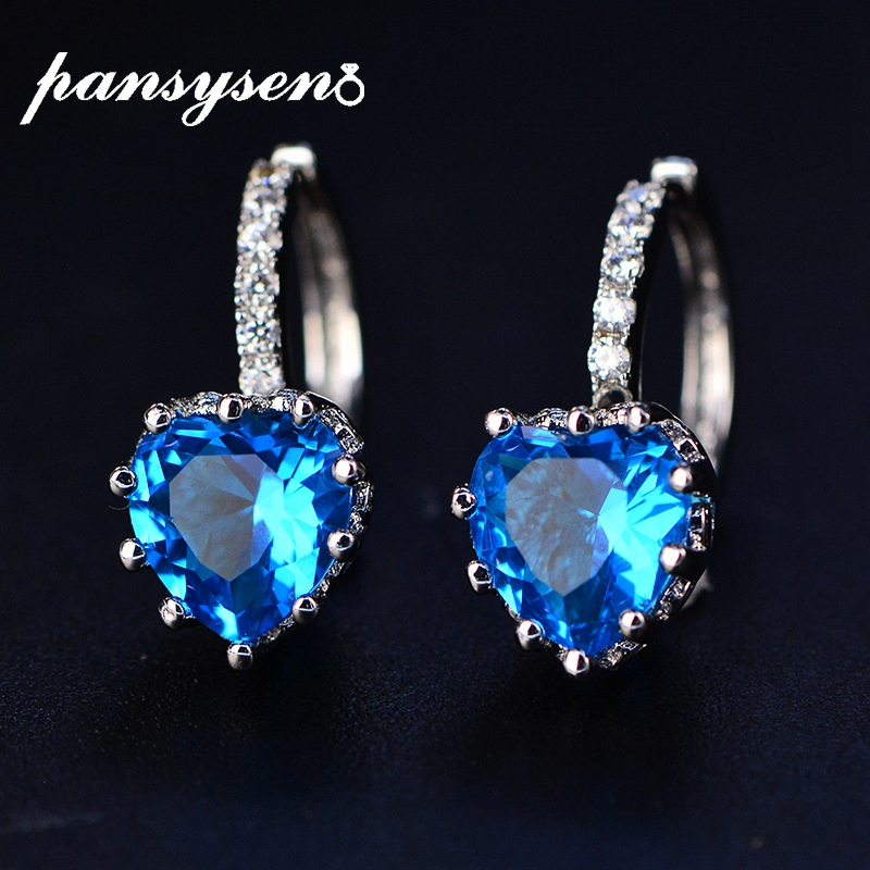 PANSYSEN Romantic Heart Shape Topaz Amethyst Sapphire Gemstone Clip Earrings For Women 925 Sterling Silver Valentine's Day Gift