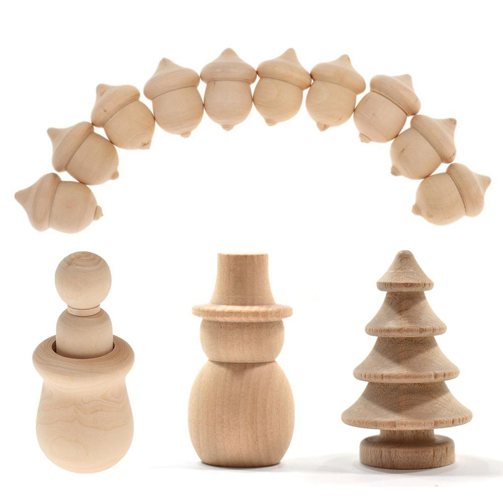 10Pcs/set Unfinished Wood Craft People Nesting Set Manual Wooden Peg Dolls Crafts DIY Paint Stain Kid's Party Wedding Home Decor