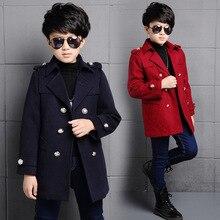 Новое корейское зимнее пальто для мальчиков; плотная детская верхняя одежда в английском стиле; Модное Длинное детское шерстяное пальто; Красивая Детская куртка; пальто для мальчиков