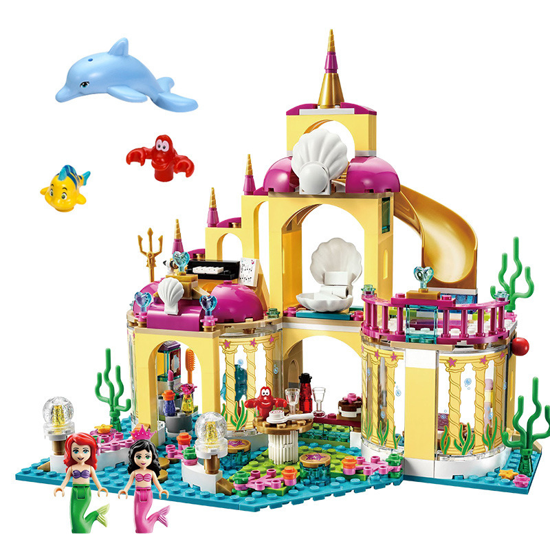 Compatible Legoinglys Friends Princess Castle Building Block Bricks Mermaid Ariel Princess Elsa Anna Cinderella Belle Girls Toys