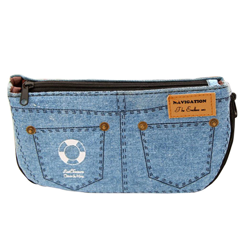 Denim Shorts <font><b>Big</b></font> Capacity <font><b>Pencil</b></font> <font><b>Case</b></font> <font><b>Canvas</b></font> Home Storage Cosmetic Bags School Pen Bag Stationery pouch school supplies image