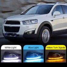 Chevrolet Captiva 용 2Pcs 2011 2012 2013 turn 신호 릴레이 자동차 스타일링 12V LED DRL 주간 주행 등 안개등 구멍 포함