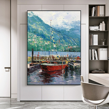 Pure hand-painted Oil Painting Sailing Sharp Vertical Version Entrance Landscape Modern American Mural Paintings By Hand