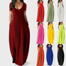Women Plus Size Sexy Maxi Dress Summer Solid Pocket High Waist Sleeveless Vestidos Female High Waist V neck Robe Dresses