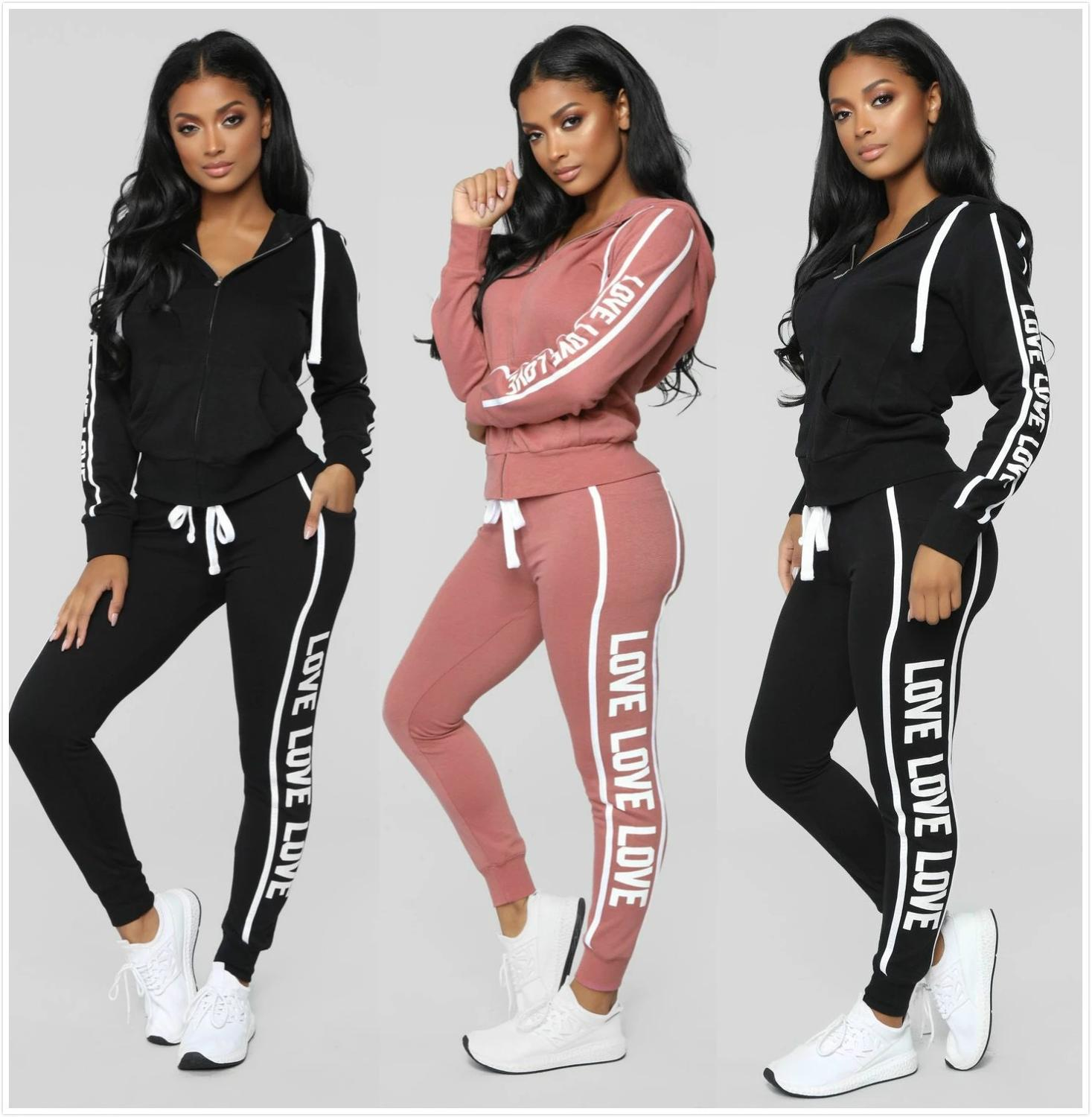 2019 Spring Autumn Hooded Tracksuit Women Fashion Casual Jogger Stripe Zipper Long Sleeve 2 Pieces Set Gym Sportwear Sweatshirt