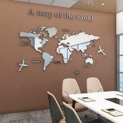 Европейский тип карты мира 3D акриловые настенные наклейки, хрустальные зеркальные наклейки для офиса, дивана, телевизора, декоративные нас...