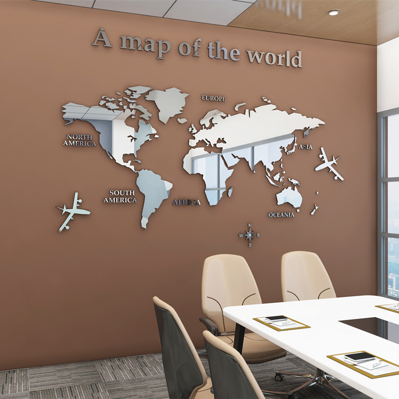European Type World Map 3D Acrylic Wall Stickers Crystal Mirror Stickers For Office Sofa TV Background Wall Decorative Stickers