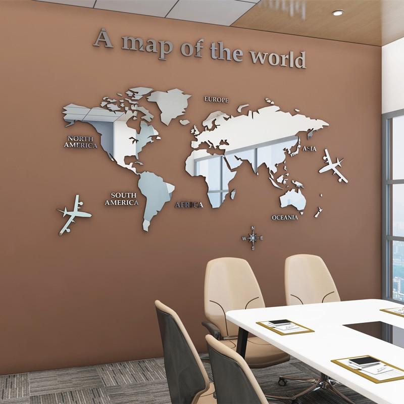 Европейская Карта мира, 3D акриловые настенные наклейки, хрустальные зеркальные наклейки для офиса, дивана, телевизора, декоративные наклей...