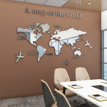 European Type World Map 3D Acrylic Wall Stickers Crystal Mirror for Office Sofa TV Background Decorative - discount item  59% OFF Home Decor