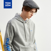 TONLION Classic Gray Pullovers with Hood Sleeve Letter Decoration Mens Hoodies Sweatshirts Loose Casual Tops for Students 2020