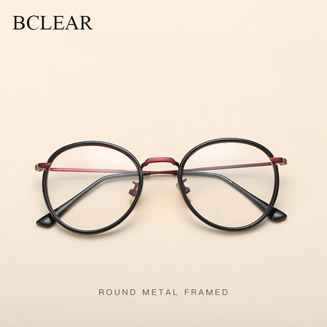 BCLEAR Alloy TR90 Glasses Frame Men Ultralight Women Vintage Round Prescription Eyeglasses Retro Optical Frame Eyewear 2019 New
