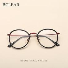 BCLEAR alaşım TR90 gözlük çerçevesi erkekler Ultralight kadınlar Vintage yuvarlak reçete gözlük Retro optik çerçeve gözlük 2019 yeni