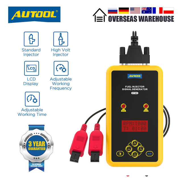 AUTOOL CT60 Auto Fuel Injector Tester, Fuel Injector Flush Tester  Automotive Goods CT150 CT200 12V Pulse Pressure Boost Tester