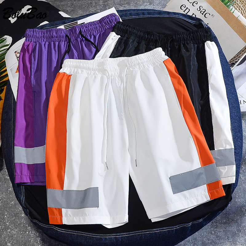 BOLUBAO Summer New Men Casual Shorts Men's 3M Reflective Strip Trend Shorts Fashion Brand Straight Drawstring Short Male