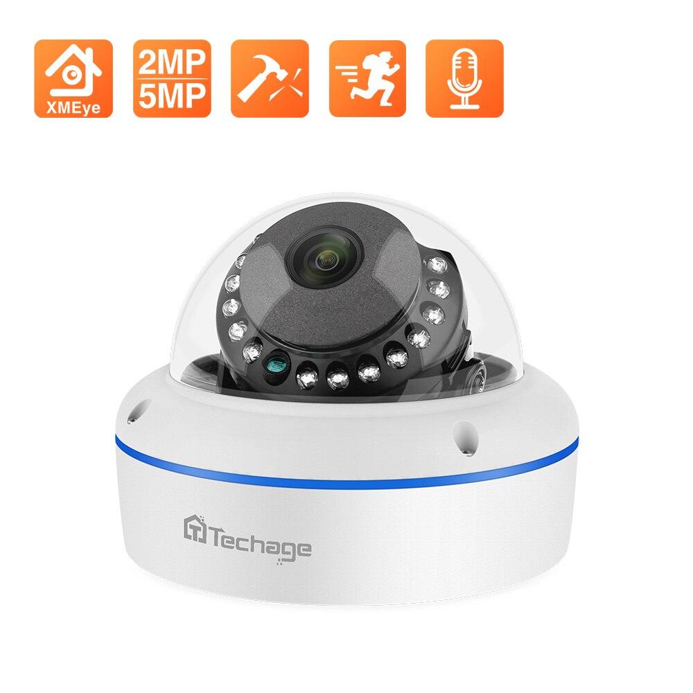 Techage Super HD 5MP 2MP POE IP-камера Антивандальная закрытая купольная камера видеонаблюдения Запись звука P2P Поддержка ONVIF камера наблюдения