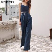 BGTEEVER Trendy Spaghetti Straps Tops & Belted Wide Leg Pants Chic Summer Female