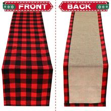 OurWarm 108 inch Buffalo Plaid Burlap Christmas Table Runner Reversible Waterproof Extra Long Runner Buffalo Check Christmas Dec цена