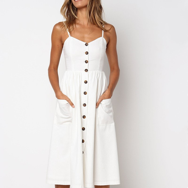 Women's Sexy Summer Midi Dresses Boho Backless Sleeveless Button Striped Dot Solid Midi Dress Slip Sundress With Pockets Robe 1