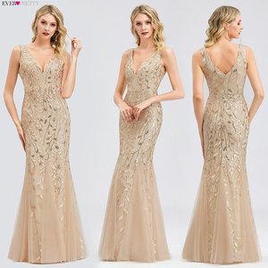 Image 3 - Burgundy Evening Dresses Ever Pretty EP07886 V Neck Mermaid Sequined Formal Dresses Women Elegant Party Gowns Lange Jurk 2020