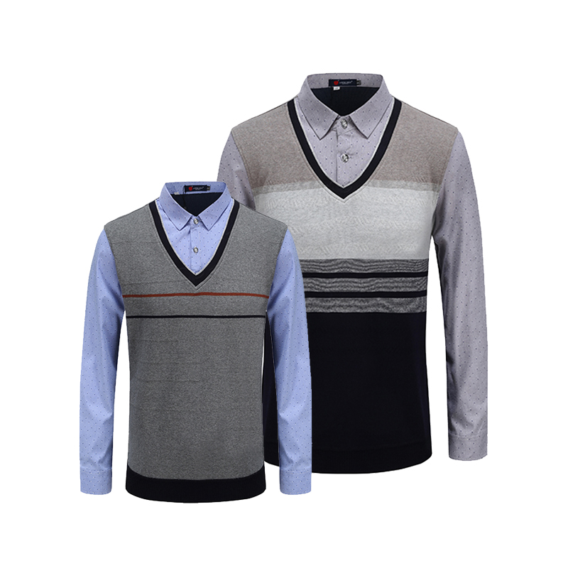 V Neck Collor Two-piece Shirts Men  Newly 2020 High Quality Long Sleeves