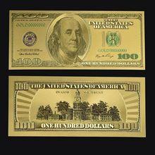 Золото Фольга Золотой USD $100 доллар Бумага банкноты денег ремесла