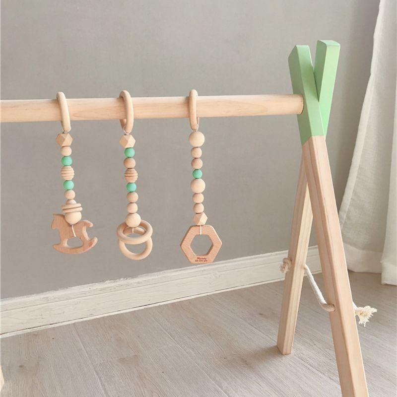 berçário anel sensorial-puxar brinquedo de madeira infantil
